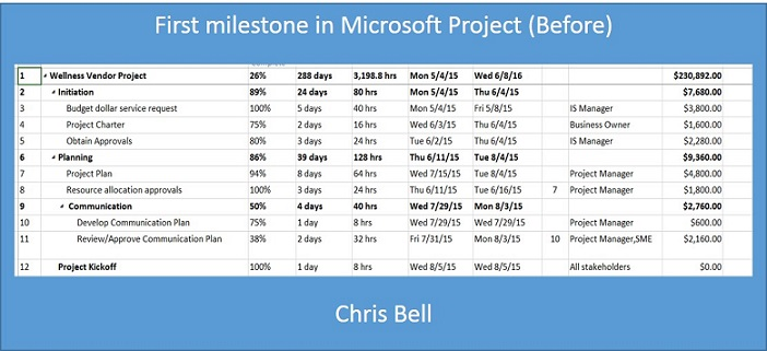 Project Status - Microsoft Project (Before