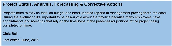 Project Status, Analysis, Forecasting & Corrective Actions