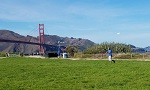 Chris Bell Playing Frisbee at the Golden Gate Bridge