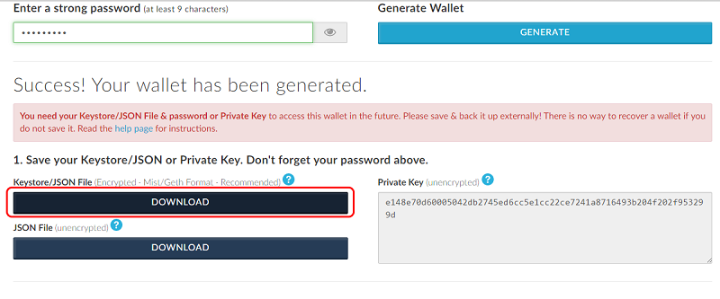 Ethereum (ETH) MyEtherWallet Create a Private Key